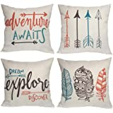 Feather Arrows Throw Pillow Case Inspirational Words Cushion Cover Home Decorative Square Pillowcases 18×18 Inch,4pack…