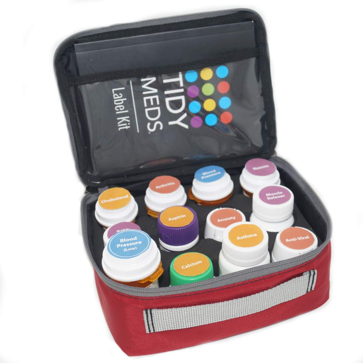 Pill Case -Label Your Prescription Bottles by Type of Condition. Over 250 Labels Included with Tidy Meds 2 Pill Case. Fits Most Bottles. by Tidy Meds