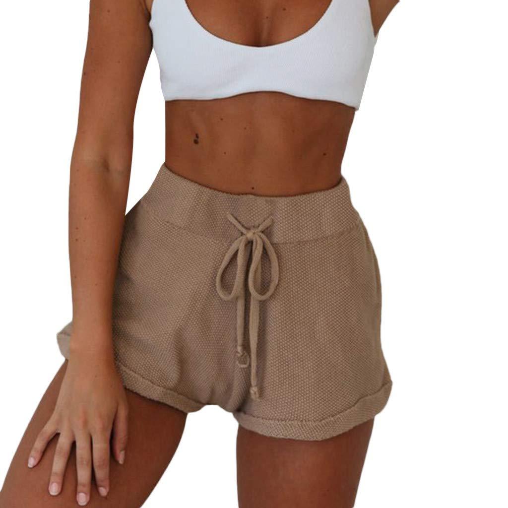 wodceeke Casual Solid Color Cotton Linen Waist Elastic Waist Beach Pants Drawstring Curling Shorts