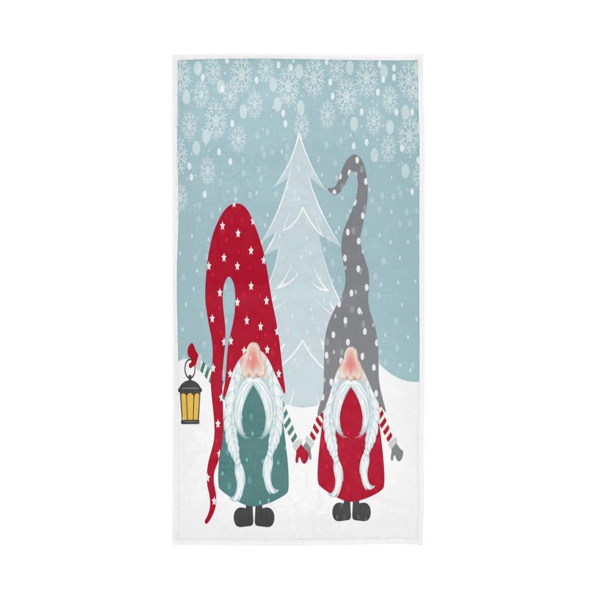 h/ôtel Gymnase et Spa 76x38cm MNSRUU Serviette de Bain absorbante Douce pour essuie-Mains Noel Happy Gnomes pour Salle de Bains