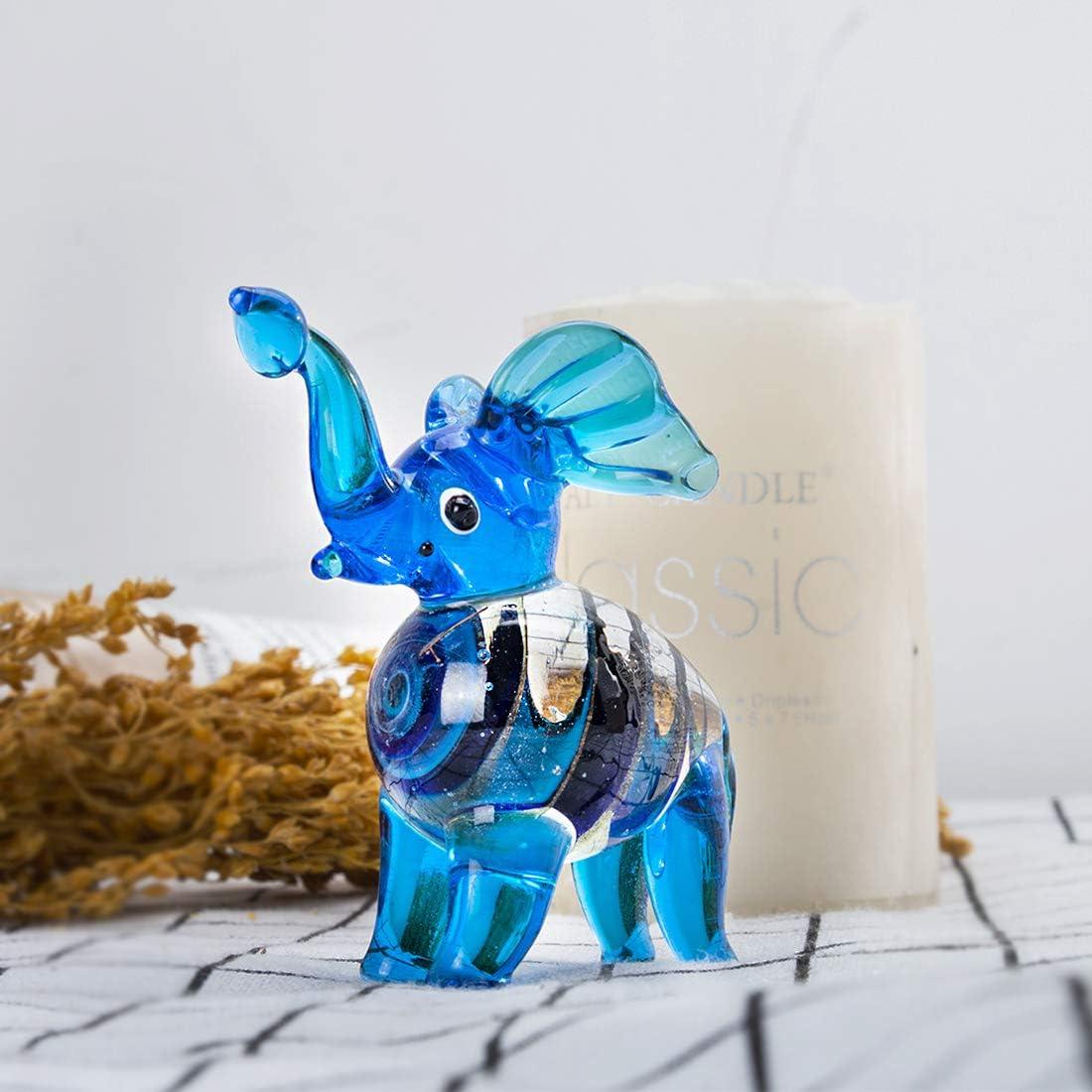 Elefante Elefante Blu Crystalsuncatcher Scultura in Vetro soffiato a Mano Decorazione per la casa