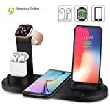 4 in 1 Wireless Charging Station for iPhone X/XR/Xs Max / 8/7/6 / Samsung/AirPods/Apple fast multi-device Wireless Charging Dock Holder Station,Black