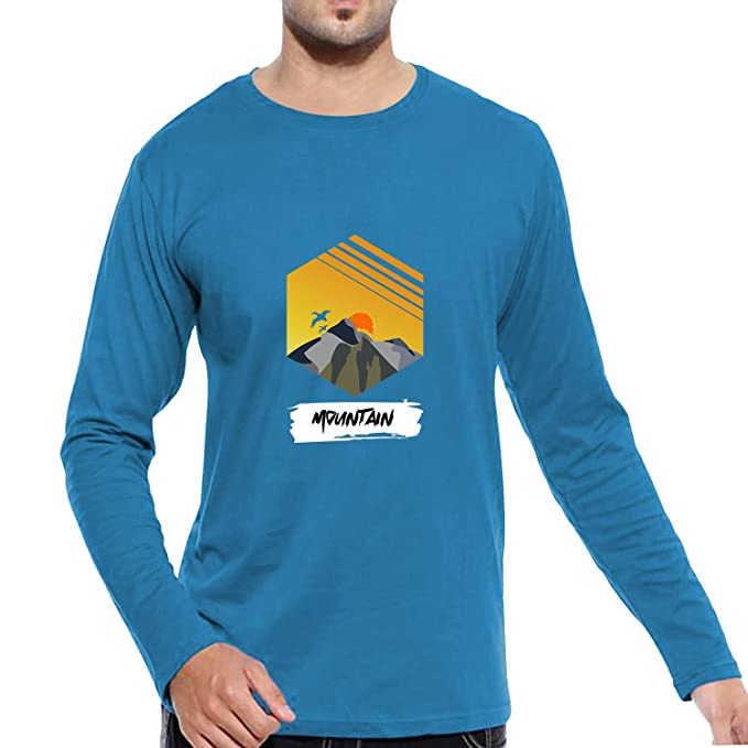 859e6cb6a1 Pooplu Mens Mountain Cotton Printed Round Neck Full Sleeves Multicolour t- Shirt, Trending, Nature, Tracking, Trip, Road Trip, Symbol Tshirts:  Amazon.in: ...