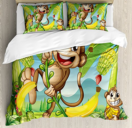 Nursery Duvet Cover Set Queen Size by Ambesonne, Two Monkeys Near the Banana Plant Tropical Nature Landscape Vine Funny Animals Apes, Decorative 3 Piece Bedding Set with 2 Pillow Shams, Multicolor