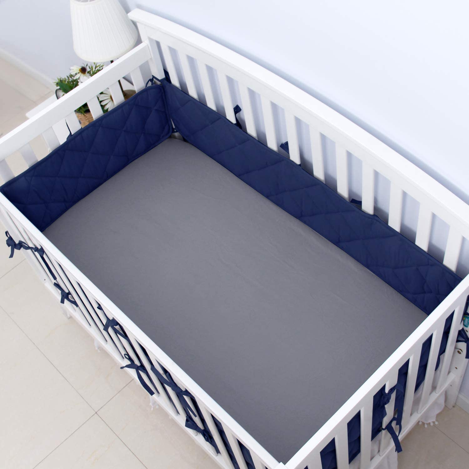 Crib Bumper Pads for Baby Crib Bedding, 52 x 28 Navy Blue Washable /& Durable Nursery Crib Liners Guard Protector for Boys Girls