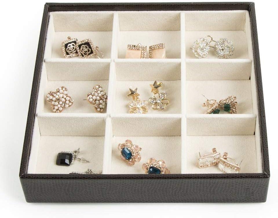 marfil, 19.2 x 18.9 x 15.5 cm organizador de anillos JackCubeDesign collar de pendientes pulsera juego de 4 -: MK220-2ABCD bandejas de exhibici/ón Bandejas de joyer/ía apilables de cuero