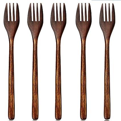 Tenedores de madera, 5 piezas Namu madera cubertería/cubiertos Set (no vinculado cuerda