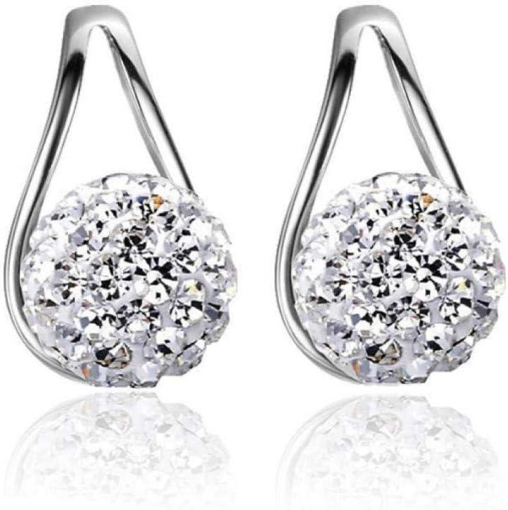 NOBRAND Pendientes de botón Rhinestone Ball Triangle Design Ear Jewelry Femme Earring