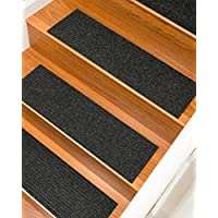 NaturalAreaRugs Halton Polyester Carpet Stair Treads, Handmade, Rubber Backing, Durable, Stain Resistant, Environmental-Friendly, Charcoal, Set Of 13 9 x 29