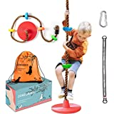 ZONEGRACE Climbing Rope Swing for Kids,Outdoor Swing Tree with Platforms and Disc Swing Set-Playground Swingset…
