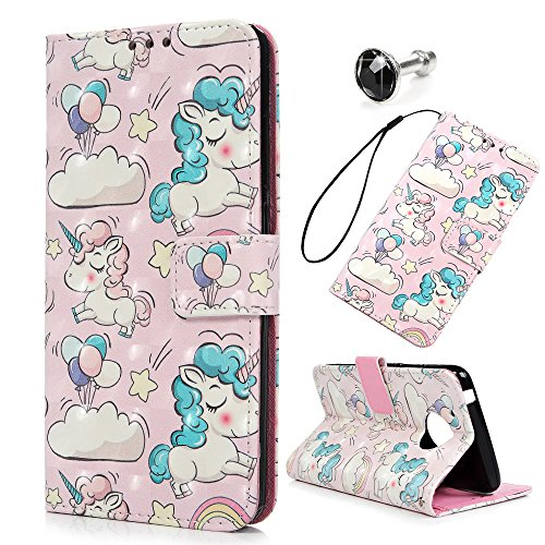 MOTO E4 Case, Flip Folio Kickstand Case Premium PU Leather TPU Inner Bumper 3D Basso-Relievo Painting Shockproof Hand Straps Purse Credit Card Slots Slim-Fit Protective Cover by YOKIRIN, Unicorn For Sale