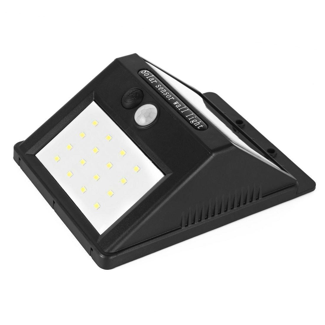 Sensor de luz solar eDealMax Movimiento 16 hilos impermeable Foco energía solar pared del jardín de la cubierta de la yarda LED brillantes luces de ...