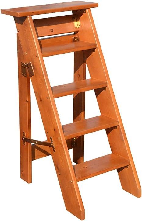 CAIJUN Escalera de Cinco peldaños De múltiples Fines Madera de Pino Un Lado Plegable Decoración Casa móvil Escaleras del ático, 4 Colores, Alto 100cm (Color : D, Tamaño : 100cm): Amazon.es: Hogar