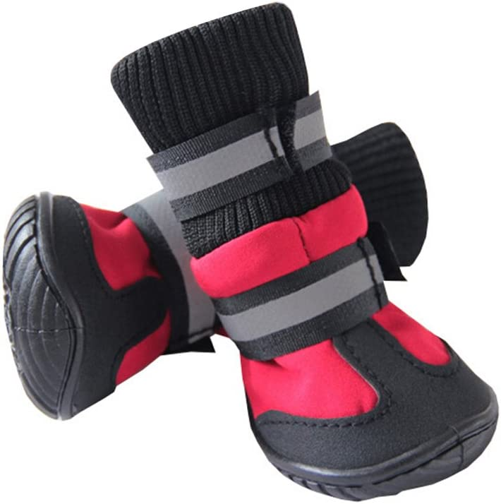70 140 mm L * W * H UEETEK Waterproof Pet Dog Boots,Paw Protectors Dog Shoes with Anti-slip Soles Rain Booties,Ideal for All-Weather Use,Size L,90 ,Red