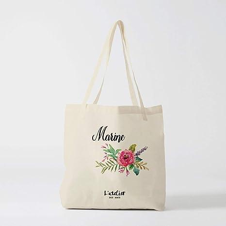 Bolso de boda personalizable con flores y bolsa de algodón ...
