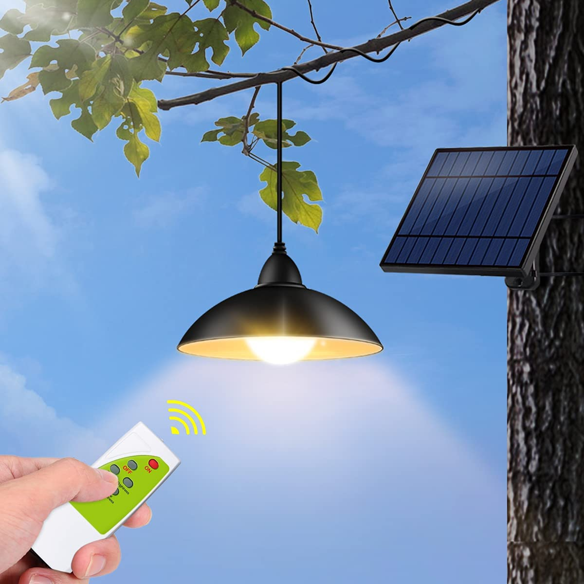 Outdoor Solar Lights, Tomshine IP65 Waterproof Outdoor Pendant Light with Remote Control, Brightness Adjustment Solar Shed Light for Garden Patio( Warm White)