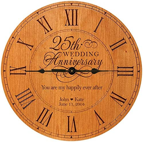 LifeSong Milestones Personalized 25th Anniversary Engraved Cherry Wall or Desktop Clock