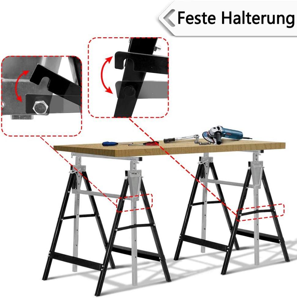 Garten Geb/äude Werkstatt Aufun 4x Teleskop-Arbeitsbock Ger/üstbock Zusammenklappbar Metallb/öcke mit H/öhenverstellbar 80-130 cm und bis 150 kg f/ür Haus Lager