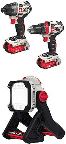 PORTER-CABLE PCCK619L2 20V 2-Tool Brushless Combo Kit with PCCL500B 20V MAX Corded Cordless LED Area Light