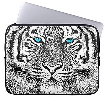 geordiet negro y blanco ojos azules tigre diseño gráfico moda impermeable neopreno ordenador portátil mangas 15