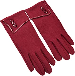 Evangelia.YM Women's Elegant Buttons Thermal Gloves Touch Screen Fleece Mitten Elastic Cuff Winter Warm Plush Velvet Lining Gloves Outdoor Windproof Snowing Cycling Skiing (Black)