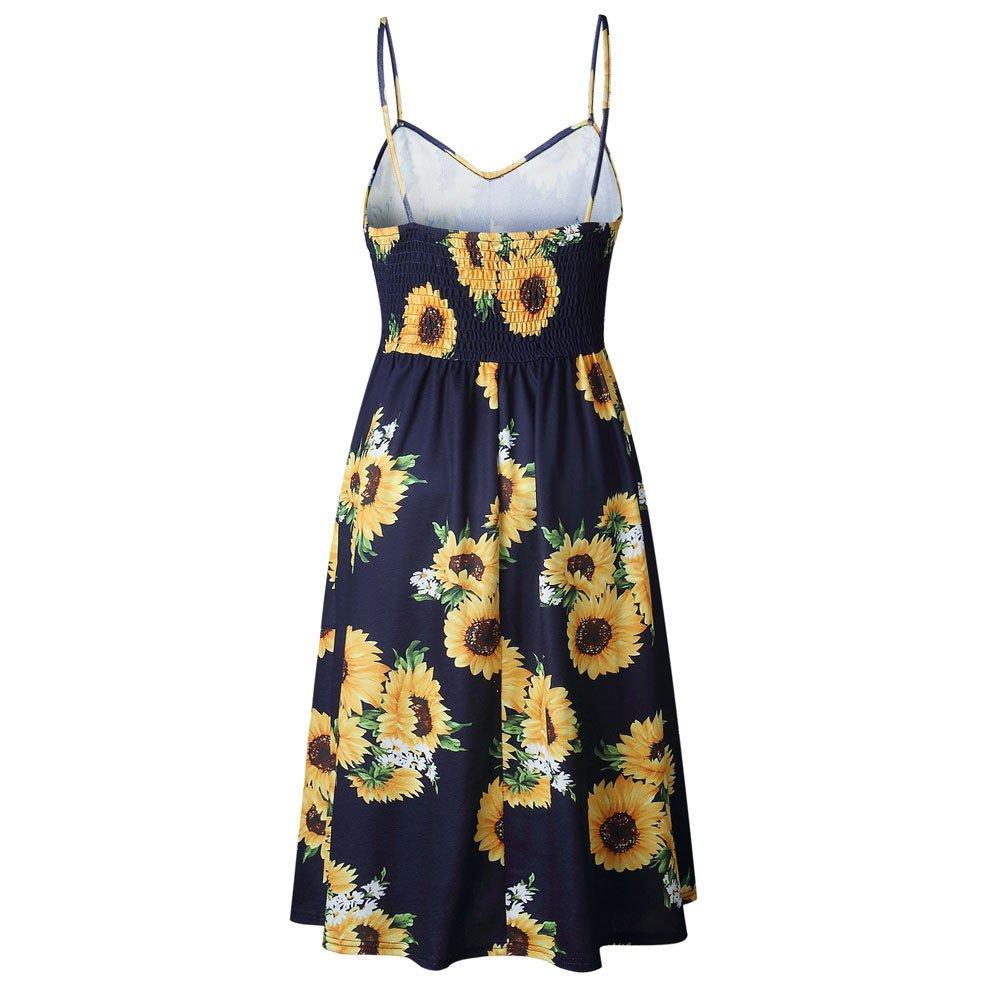 34932bdaa1 Amazon.com: Lljin Women's Sleeveless Adjustable Strappy Summer Floral  Flared Swing Dress: Clothing