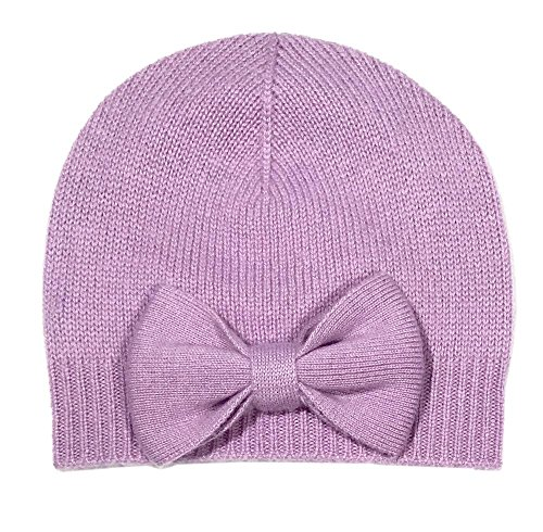 Gia John Cashmere Girl's Cashmere Hat with handmade Bow Detail (Lavender, 4T-6) by Gia John Cashmere