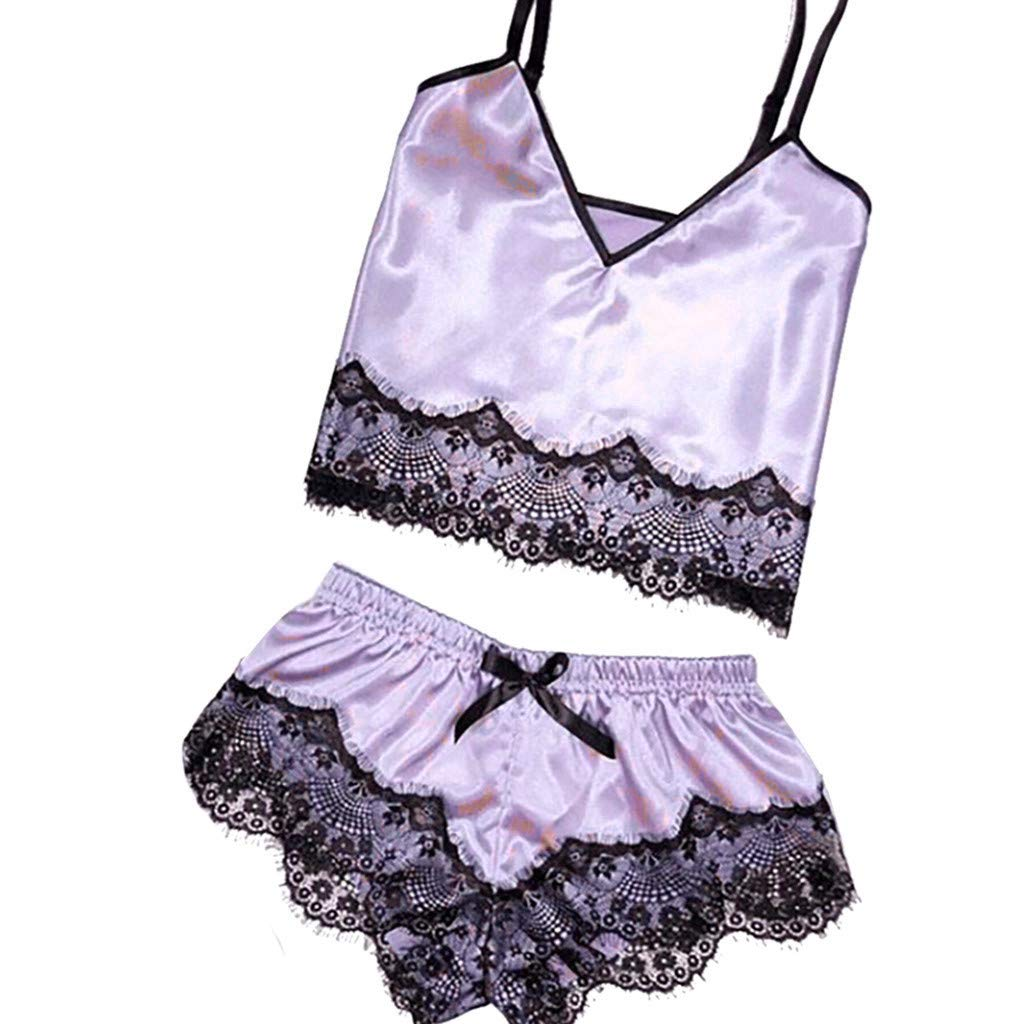 Psunrise Pijamas Womens Summer Sexy Satin Sling Sleepwear Lingerie Lace Bowknot Solid V Neck Nightdress Underwear(L, Purple)