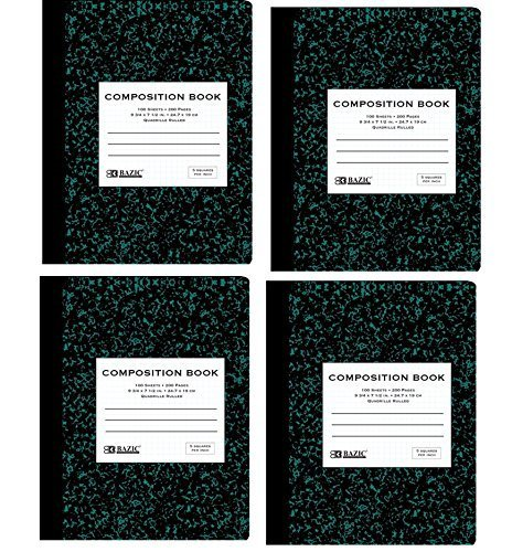 Bazic Quad-Ruled Composition Book, Green Marble, 100 Sheets (4 Books)