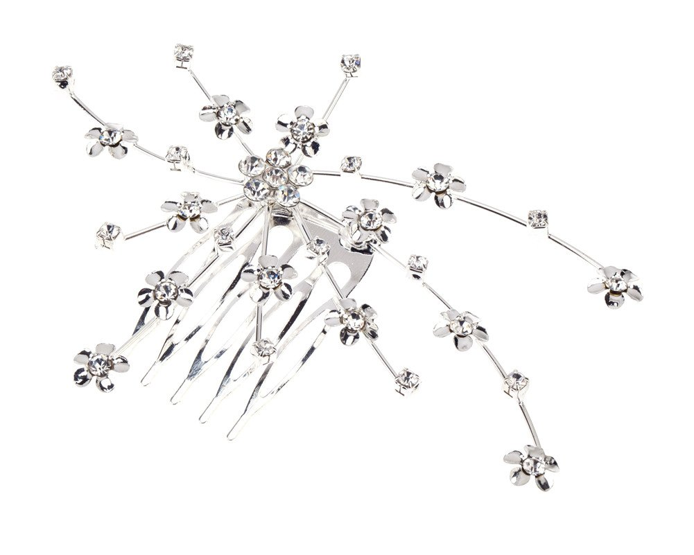 Gorgeous Decorative Hair Styling Comb for Proms, Bridal Weddings Hairdos And Other Special Occasions With Flowers Shaped Decorations Embellished With Silver Crystals / Diamantes / Rhinestones By VAGA