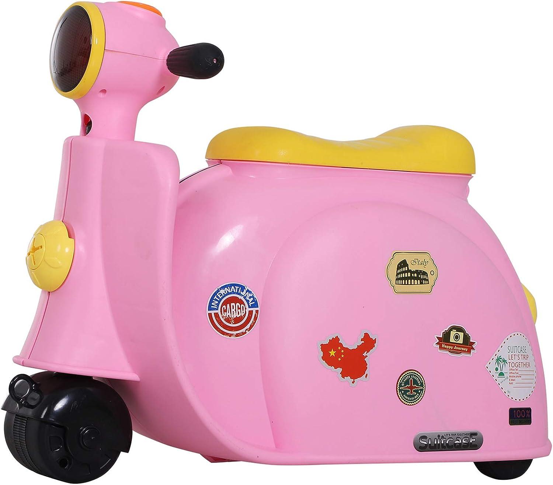 HOMCOM Bolso de Taquilla de Viaje Maleta Correpasillos con Forma de Moto para Niños Infantil de Mano Bebé Ride-On con 4 en 1 para los Niños Mayores de 3 Años