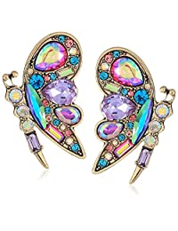 Betsey Johnson Womens Colorful Blooming Butterfly Stud Earrings