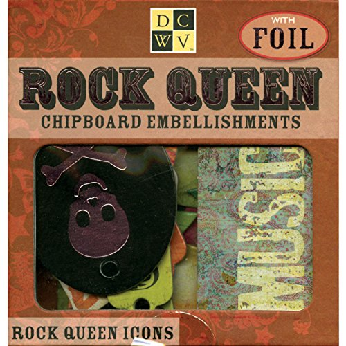 Diecuts With A View Chipboard Embellishments Boxed, Rock Queen Icons With -