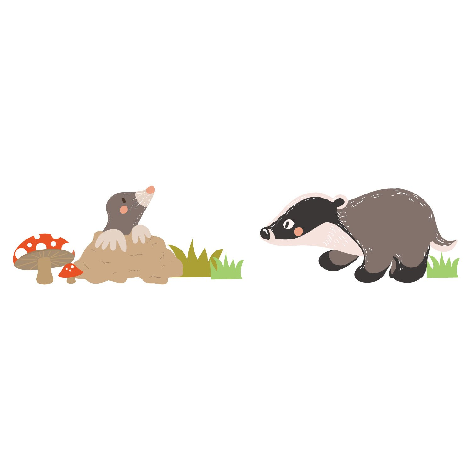 Badger and Mole wall sticker for baby's nursery, child's bedroom or playroom child' s bedroom or playroom Stickerscape