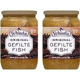 Yehuda Original Gefilte Fish 24oz (2 Pack) Premium Quality, No MSG, Original Home Style Recipe, No Egg Yolk, Kosher For Passo