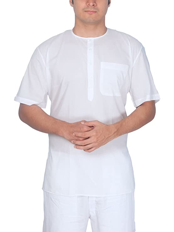 Rajubhai Hargovindas White Fine Cotton Short Kurta Men's Kurtas at amazon