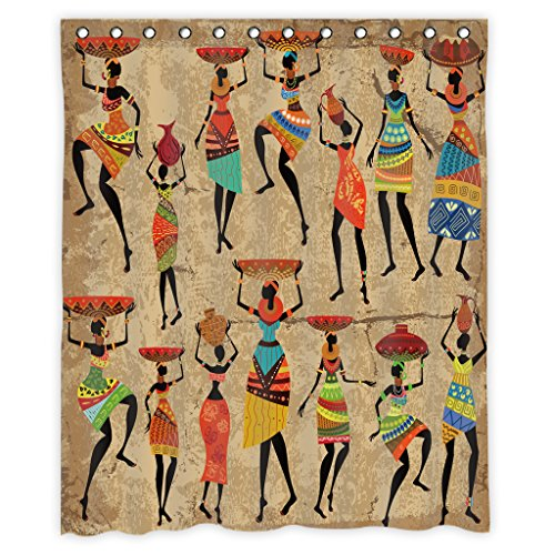 """African Women Shower Curtain Decor by Mugod,African Women Afrocentric Artwork Women In Tribal Dresses Carrying Water Polyester Fabric Waterproof Bathroom Shower Curtain Set with 12 Hooks Size 60\""""X72\"""""""