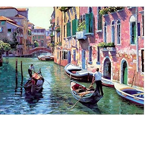 SUBERY Paintworks DIY Oil Painting Paint by Number Kits for Adults Kids Beginner - The Scenery on The River 16x20 inches (Without Frame)
