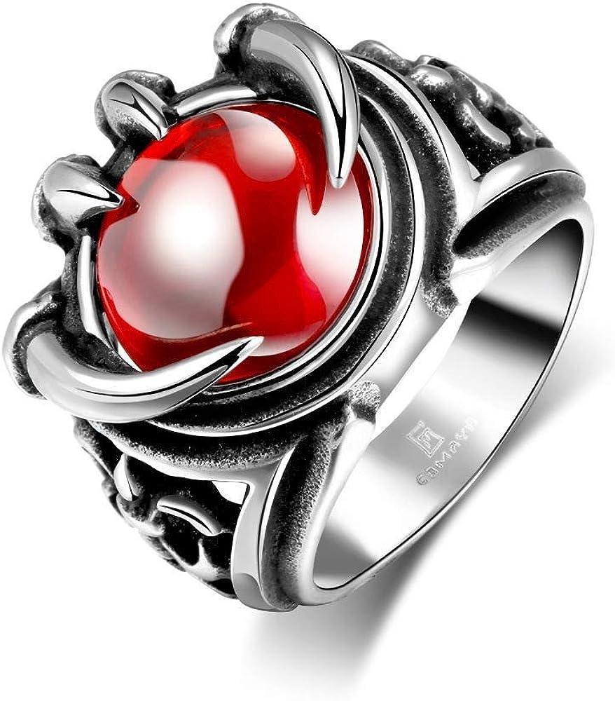 NA Garra de la Personalidad de los Hombres con Anillos de Acero Inoxidable de Piedras Preciosas Rojas