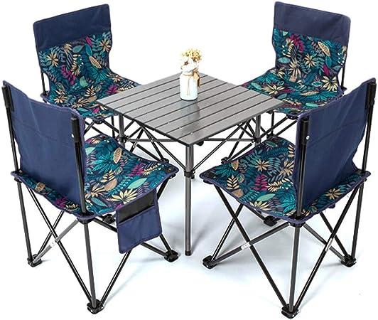 GFHJ1201 Juego de Mesa y Sillas de Picnic para Jardín, Mesa de Camping Portátil de Aleación de Aluminio con 4 Sillas Plegables de Tela Oxford para 4 Personas: Amazon.es: Hogar