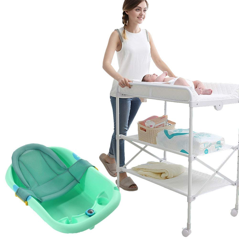 Sunny Dirty and Soft Newborn Diaper Table, Multi-Functional Dressing Table, Massage Touch Bath (Color : Green)