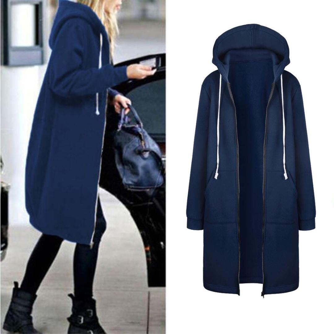 Women's Autumn Winter Fashion Warm Sweatshirt, LLguz Zipper Hoodies Long Sleeves Coat Jacket Pockets Outwear (XXXL, Blue) by LLguz (Image #2)