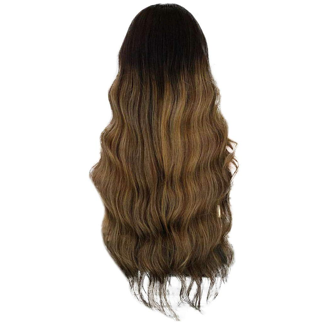 Wig,SUPPION Daily Casual Natural Curly Lace Front Synthetic Wig Fashion Women Gradient Long Wigs - 60CM - Cosplay/Party/Costume/Carnival/Masquerade (Multi-Colored)