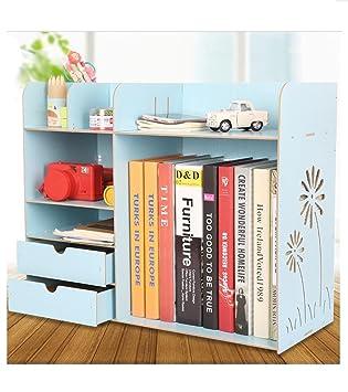 Genial Wood Board File Sorter Desktop Organizer Rack Shelf Cubbies Office Supplies  Holder Makeup Organizer (Blue