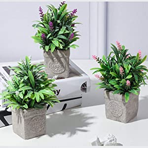Artificial Plants in Pot for Home Decor Indoor, Small Realistic Fake Plants with Colour for Decoration - Lavender Set of 3