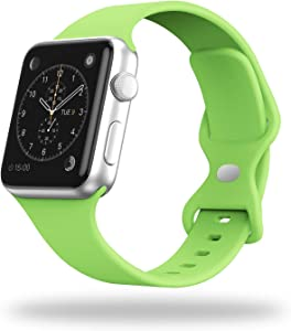 STG Smart Watch Band Compatible with Apple Watch Band 38mm 40mm 42mm 44mm, Soft Silicone Replacement Sport Strap Compatible for iWatch SE Series 6/5/4/3/2/1 (42/44mm, Apple Green)
