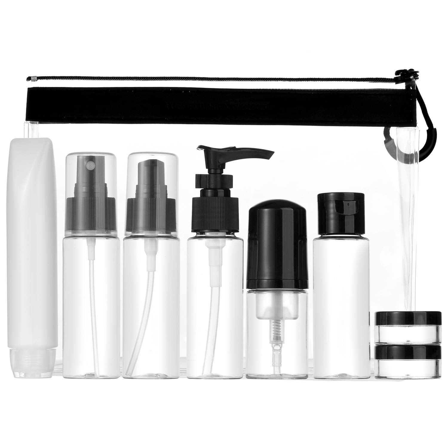 Travel Size Toiletry Bottles Set, TSA Approved Clear Cosmetic Makeup Liquids Containers with Zipper Bag, Pack of 9