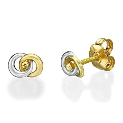 0d67a77ba Amazon.com: Two Tone Yellow and White Solid Gold 14K Woman Stud Earrings  Screwback: Jewelry