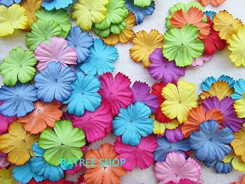 100 pcs Patch Flowers 25x25mm Mulberry Paper Flower scrapbooking wedding doll house supplies card.