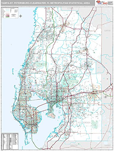 Tampa-St Petersburg-Clearwater, FL Metro Area Wall Map (Premium Style, Laminated, 48x64 inches) by Market Maps